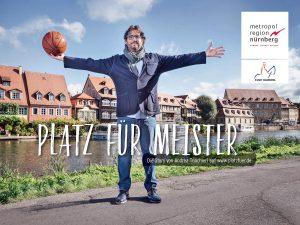 Star-Trainer Andrea Trinchieri von Brose Bamberg wirbt für die Metropolregion Nürnberg