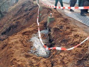 Gartenamt sichert Biber-geschädigten Damm zwischen Walkmühle und Hainbadestelle