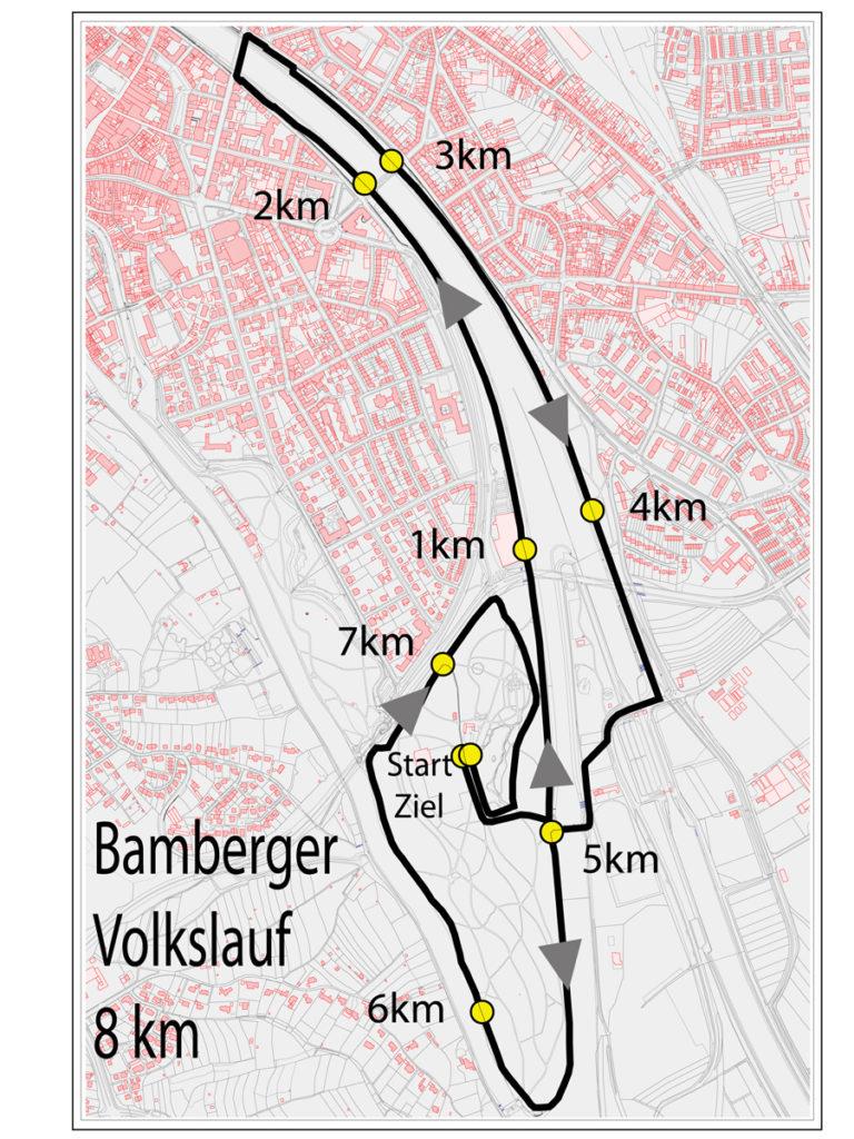 Streckenplan: 12. Bamberger Volkslauf - Starkes Rennen für Menschen in Not
