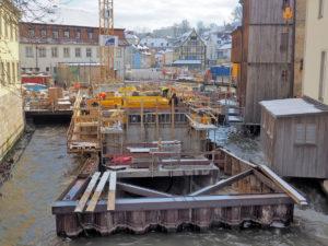 Bamberger Weltkulturerbe-Besucherzentrum: Die Baustelle an den Unteren Mühlen im Februar 2018.