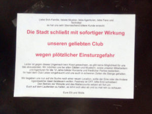 """Das """"Sound-n-Arts"""" in Bamberg muss wegen akuter Einsturzgefahr des Gebäudes vorerst schließen"""