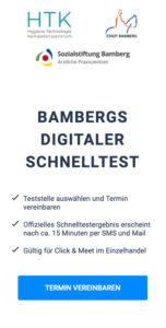 Screenshot von www.schnelltest-bamberg.de: Intro