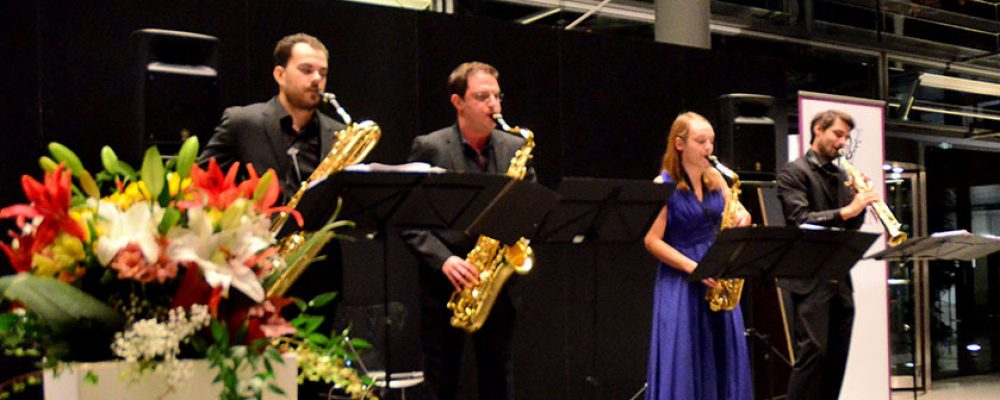 """Mit """"American Dreams"""": Das Arcis Saxophon Quartett eröffnete die Konzertsaison 2018/19 im Foyer der HUK Coburg"""