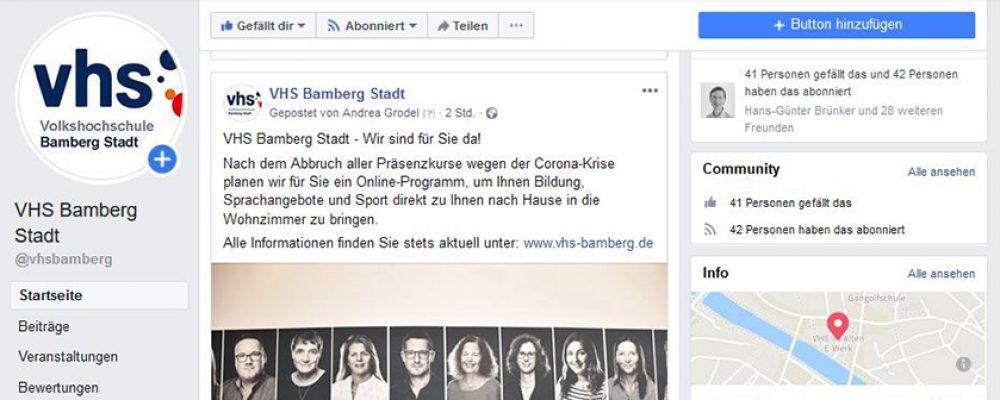 VHS Bamberg Stadt auf Facebook präsent
